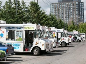 photo of parked ice cream trucks