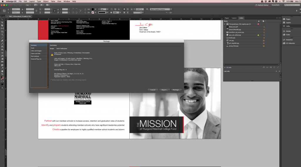InDesign Package Errors