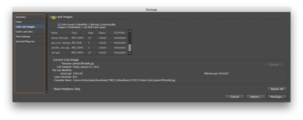 InDesign Package Errors - RGB image
