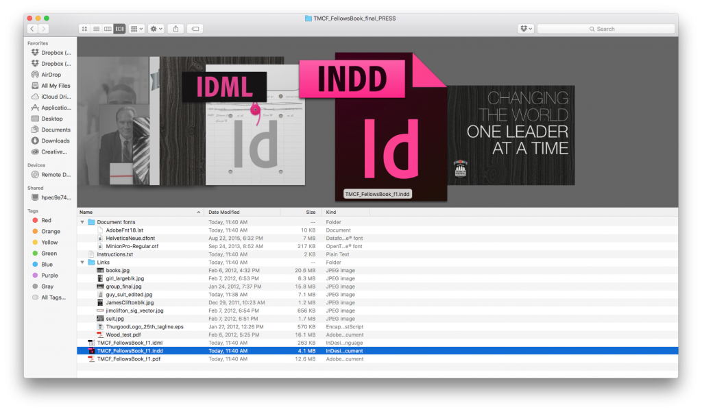 InDesign File Packaging