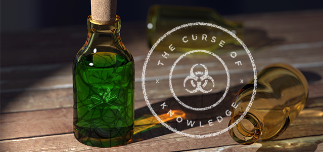 The Curse of Knowledge with bottle of green poison - Lightspeed Marketing Communications